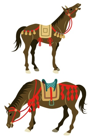 up and down: Two types horses,which wearing Japanese retro costume  Illustration
