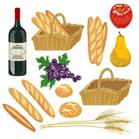 秋の果物やパン、分離プロセス