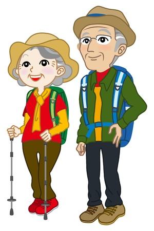 frau nach oben schauen: Senior Paar tragen Klettern Kleidung, nachschlagen