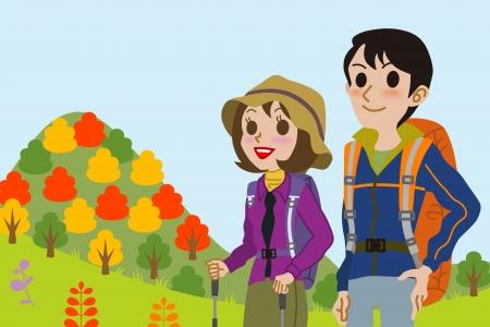 frau nach oben schauen: Paar einen Berg besteigen im Herbst