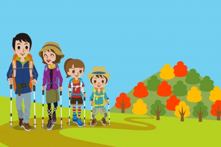 family hiking: Family walking  Mountain road in fall Illustration
