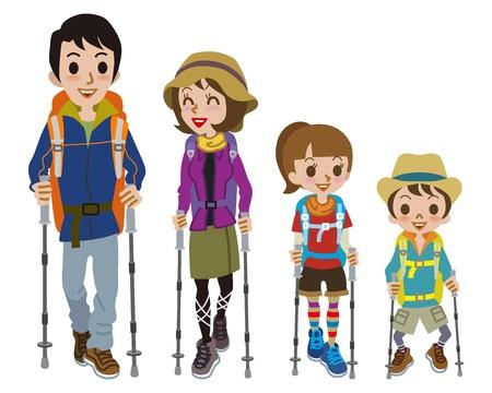 家庭登山穿衣服 向量圖像