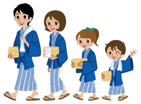 Japanese family, wearing onsen yukata Vector