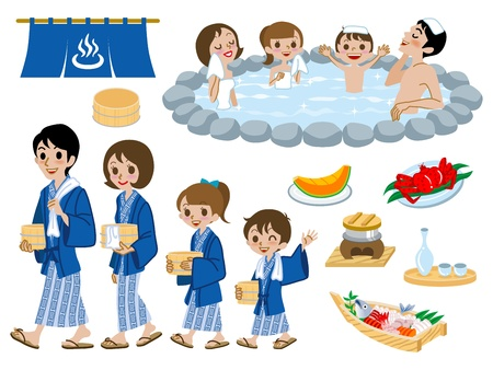 Japanese Hot Springs set,family Vector