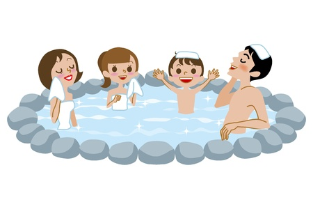 Japanese Open-air bath,family Vector