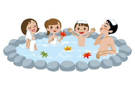Japanese Open-air bath,family and fall leaves Vector