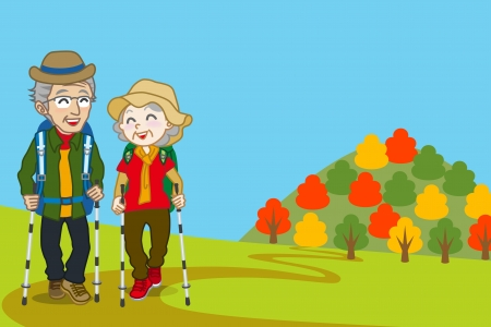 Senior couple walking  Mountain road in fall Vector