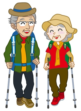back to back couple: Senior couple wearing Climbing clothes,Isolated Illustration