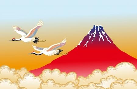 富士山和丹頂鶴 向量圖像