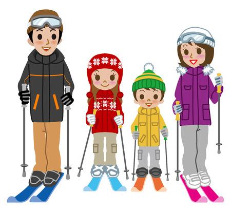 Skiing family, Isolated 일러스트
