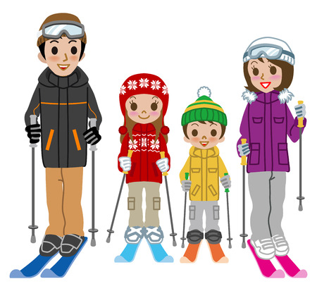 ski wear: Skiing family, Isolated Illustration