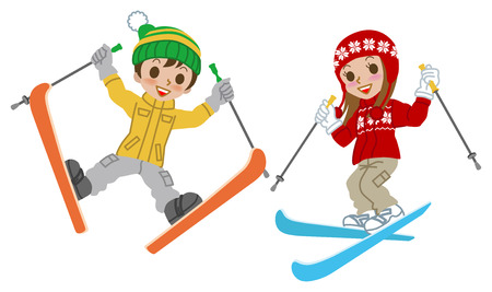 Skiing kids  jumping, Isolated Çizim