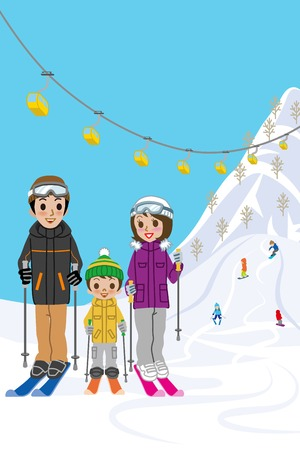 snowcapped mountain: Family enjoying ski resort