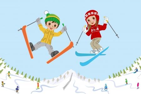 enfant  garcon: Enfants sautant sur la pente de ski