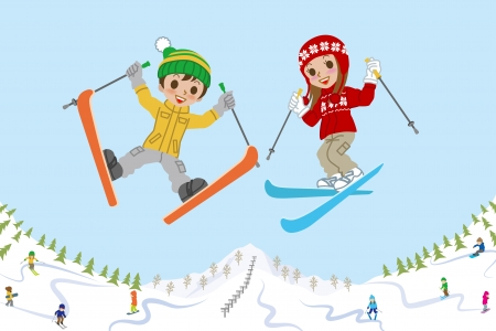 jumping: Jumping kids on ski slope