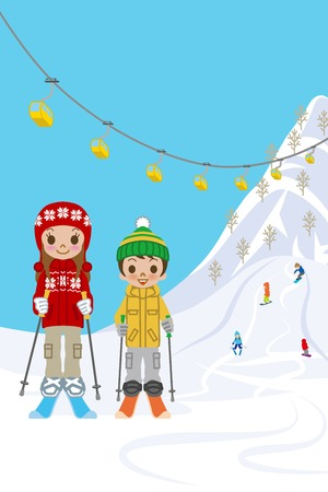 Two kids in ski slope Vector