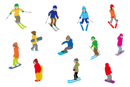 ski wear: People playing winter sports, Isolated