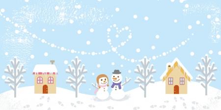 Winter landscape,two snowman Stock Vector - 23012005