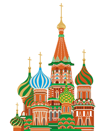 red square moscow: st  basil cathedral,Isolated Illustration