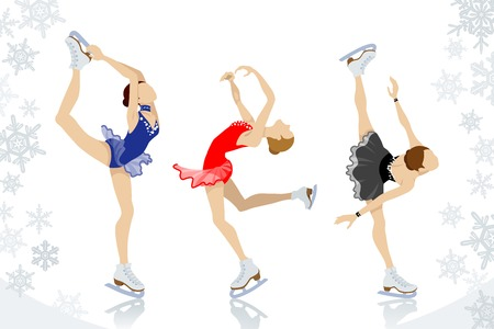 arms outstretched: Figure Skating,three women