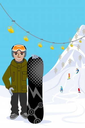 Snowboarding man, in ski slope Vector