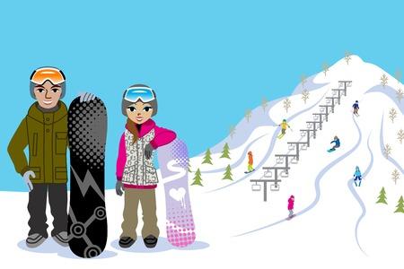 Snowboarding couple, in ski slope 版權商用圖片 - 23012465