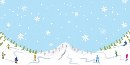 Il neige pente de ski Vecteurs