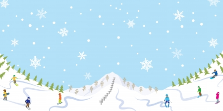 Snowing Ski slope Vector