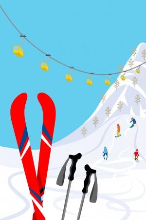 the slope: Ski slope, Vertical Illustration