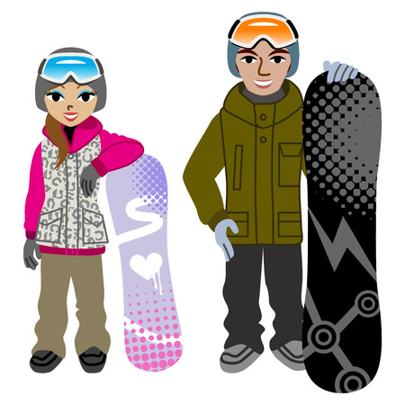full length woman: Snowboarding couple,Isolated