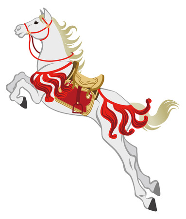 period costume: The jumping White Horse, Isolated Illustration