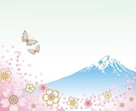 Mt  Fuji and Flying Butterflies