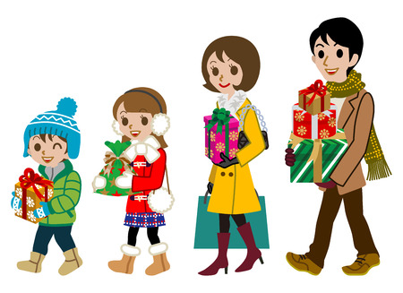 family isolated: Shopping family in winter Season,Isolated Illustration