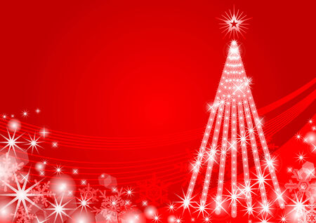 Christmas tree Illuminated,red color Vector