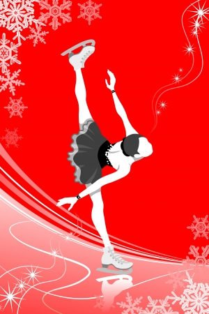 figure skate: Figure Skating woman -red color