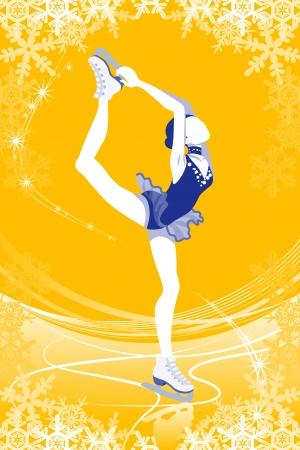 Figure Skating woman -Yellow color Stock Vector - 24080690