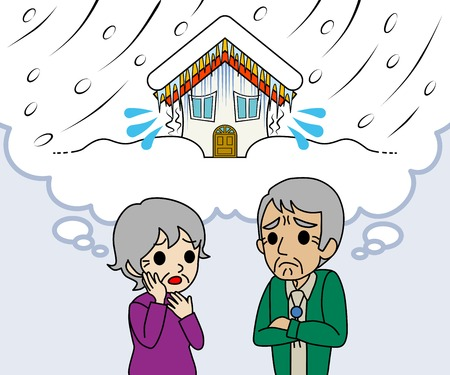 Senior couple are worried Heavy snow Vector