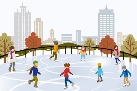 People Ice Skating on Urban Ice Rink Vector
