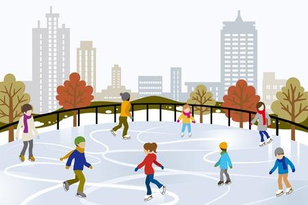 outdoor pursuit: People Ice Skating on Urban Ice Rink Illustration