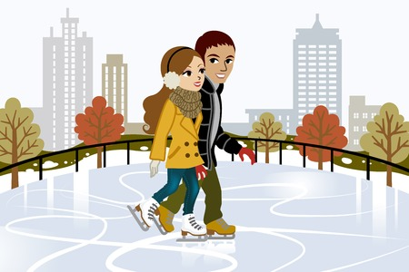 winter sports: Young couple Ice Skating in city