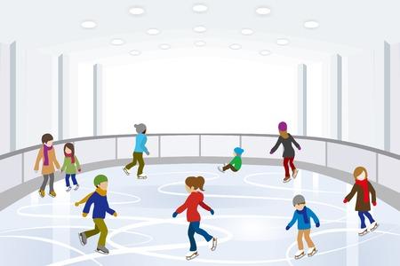 실내 아이스 링크에서 사람들이 아이스 스케이팅