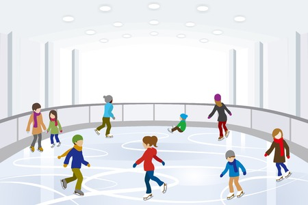People Ice Skating in indoor Ice Rink Vector