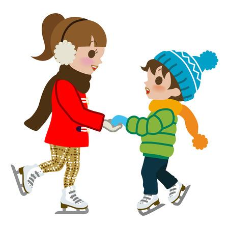 Kids Oefenen Schaatsen, geïsoleerde