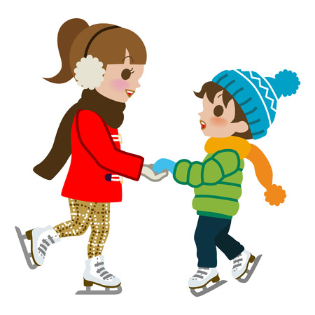 Kids Practicing Ice skate,isolated Vector