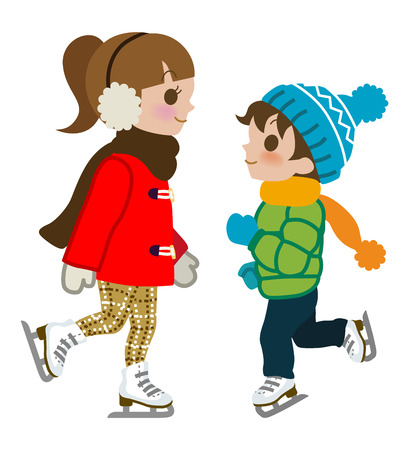 muffs: Kids Ice skating,isolated