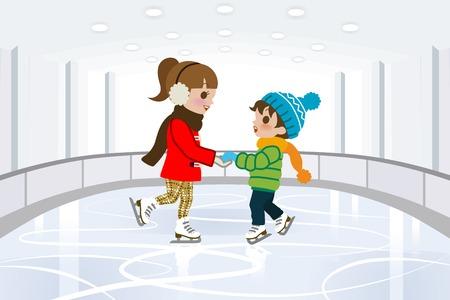 patinaje sobre hielo: Dos ni�os en la pista de patinaje cubierta Vectores