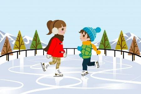 Kids Ice skating in nature Illustration
