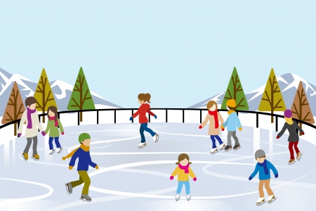 People Ice Skating in nature Ice Rink Illustration