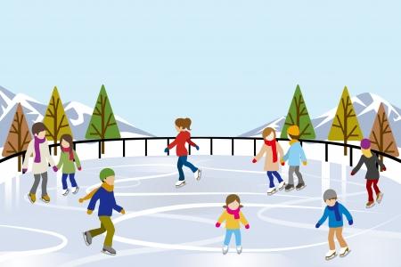 patinaje sobre hielo: Personas de patinaje sobre hielo en la naturaleza Pista de Hielo