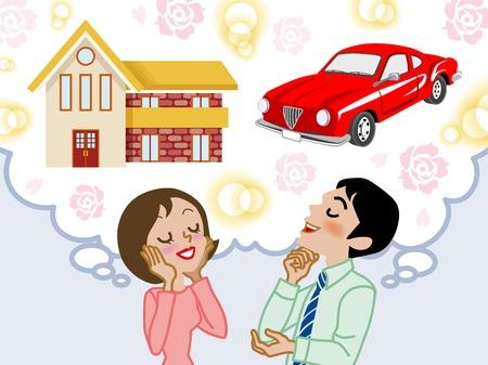 夫婦做夢房子和車子 向量圖像